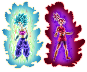 SSB Caulifla and SSR Kale by 345boneshoss
