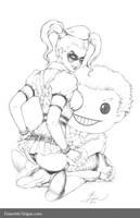 Arkham Asylum Harley w/ Joker Plush - Pencils by Dawn-McTeigue