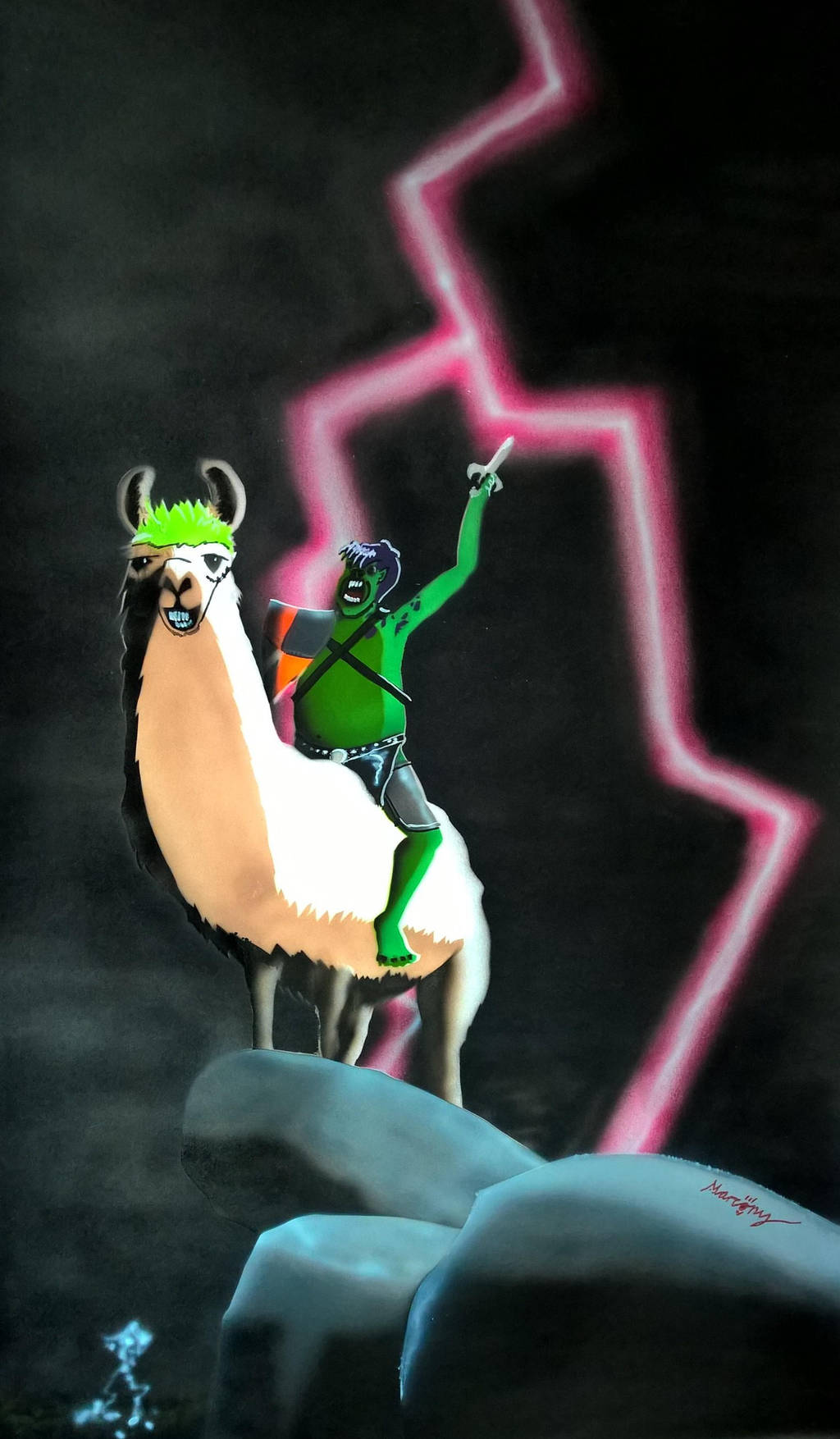 King Of The Trolls On His Mighty Battle Llama. by marcony