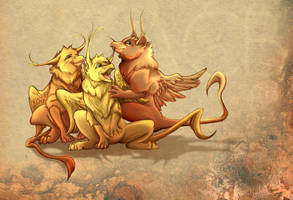 Gryphon Cubs by cursed-sight