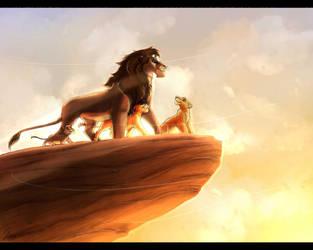 Kovu and his sons by ShakyLeox