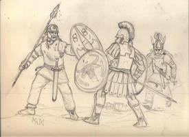 Celts v Hoplite by deWitteillustration