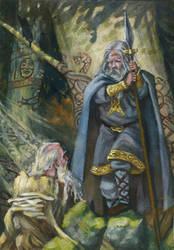 Odin consults Mim by deWitteillustration