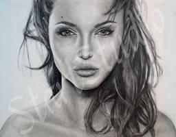 Angelina Jolie drawing by JamiePickering