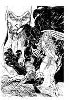 Spider-man/red sonja turner inked! by supernoobinks