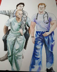 Scrubs - Guy love (JD, Turk and Dr. Cox) by thalle-my-honey