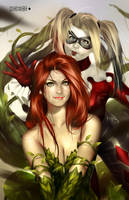Poison Ivy and Harley Quinn by alex-malveda