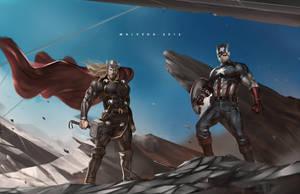 Thor and Captain America by alex-malveda