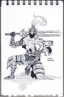[INKTOBER] Knight Artorias | Sketch no. 17 by JonDoesArt