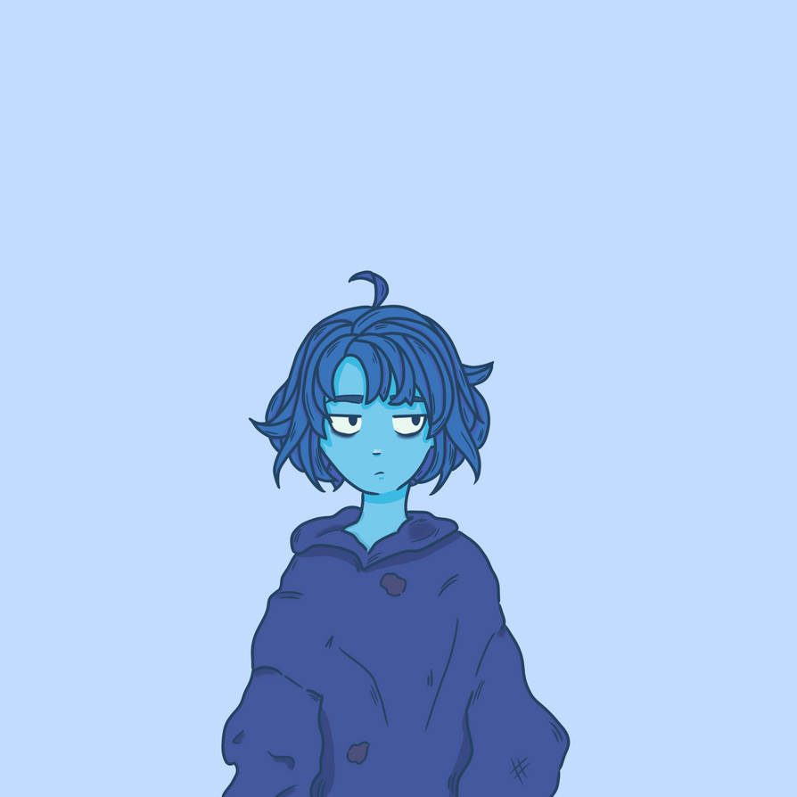 "Welp, this wasn't supposed to be Lapis Lazuli but after finishing her lineart i was like ""eh, that kinda looks like Lapis"" so here's my favorite gem being grumpy and wearing a hoodie."