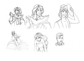 Disney sketches from screenshots by AsjJohnson