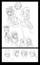 Random character sketches by kikikun