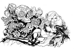 Lady Death Skull inks by madman1