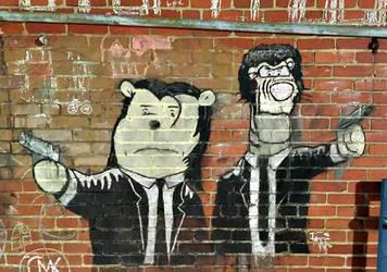 Chalk Art: Pulp Fiction/Winnie The Pooh crossover by CrazyHarrison