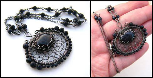 blue goldstone necklace by annie-jewelry