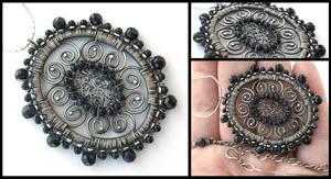 blue goldstone madallion by annie-jewelry