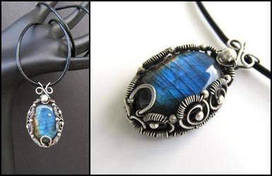 labradorite wire bezel necklace by annie-jewelry