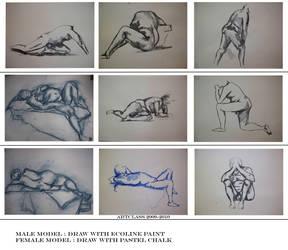 nude models drawings by azurylipfe