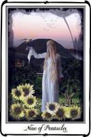 Tarot-Nine of Pentacles by azurylipfe