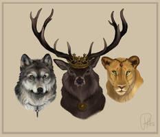 Eddard, Robert, and Cersie by Chipo-H0P3