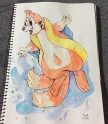 Floatzel~ traditional watercolor pokemon by peanutcat62