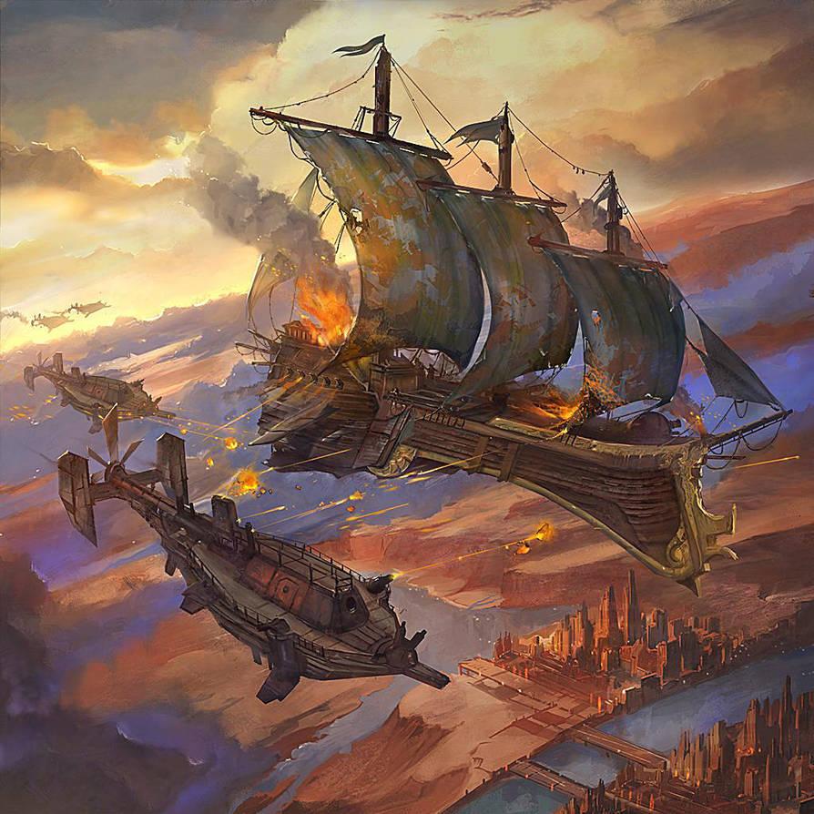 Sky Galleons of Mars by flaviobolla