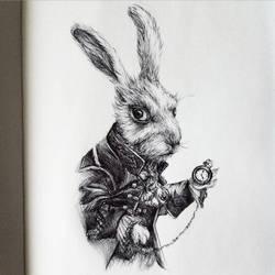 The White Rabbit (Inktober 2015) by LiubovKorotkova