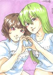 Foxy and Akemi- Sketchcard by Jutari