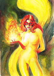 Firestar original painting by savy lim 10182015 by SlimJive