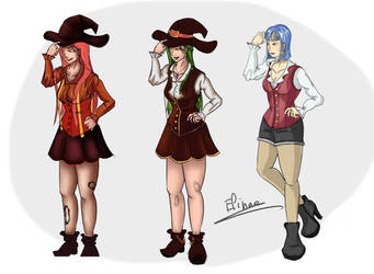 The cowgirl, the witch and the girl by Nagamii-Chan