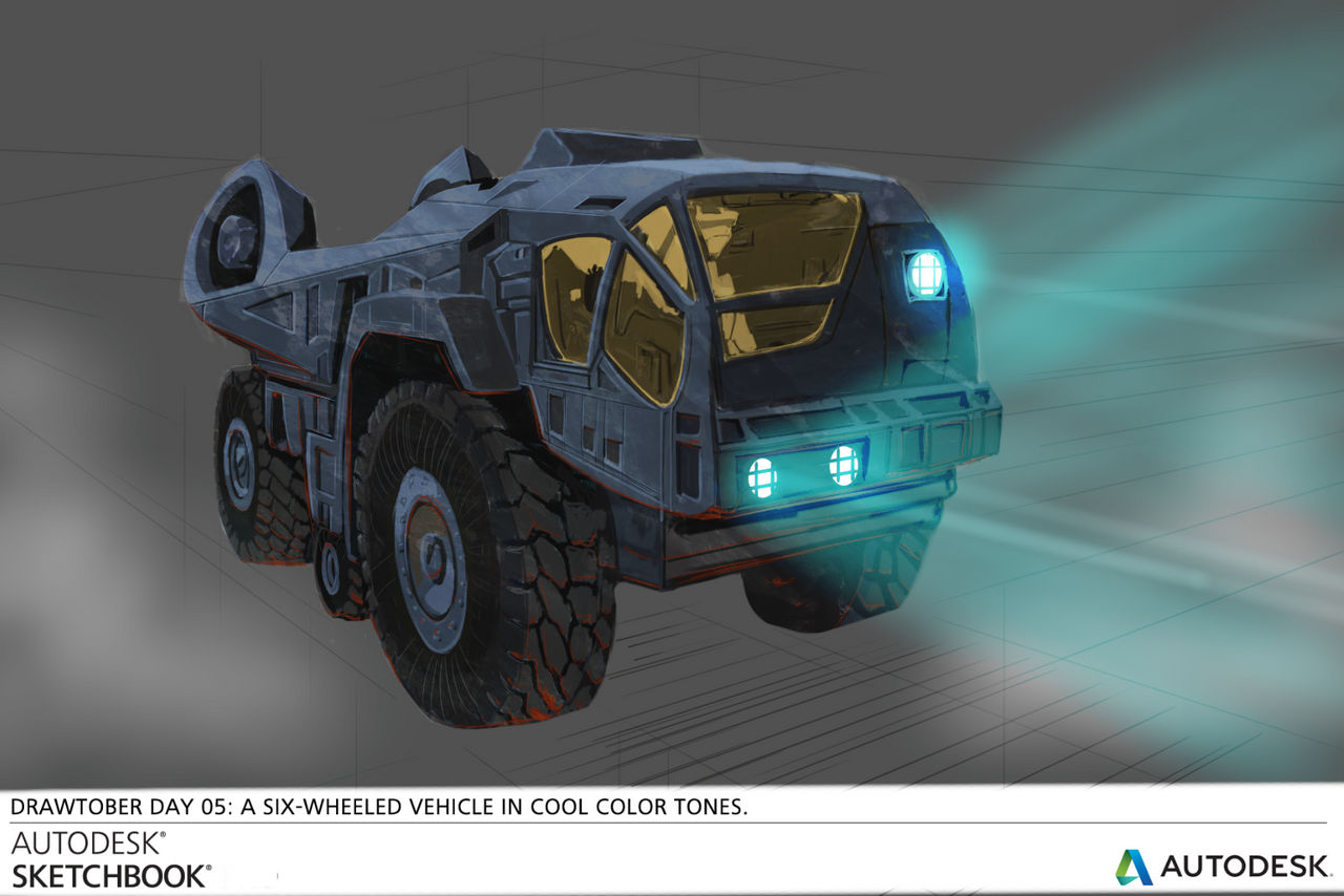 DRAWTOBER - Day 05 - 6 wheeled vehicle by VR-Robotica