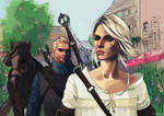 Geralt and Ciri by Mephistopheies