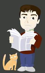 Chibi Gary and Cat by fienemannia