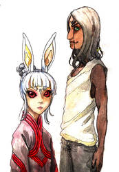Blade and Soul OC: Ceibo and Laevan Sketch by zacaria-world