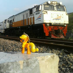 Applejack Being Railfans by dunialittlepony