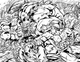 Doomsday and Superman Ink by BDStevens