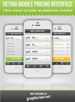 Retina Mobile Pricing Interface by Pixshare