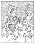 Bolsheviks playing music while occupying a house by the-black-cat