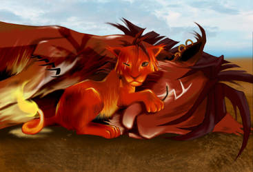 Red XIII and Seto by hylianknight246
