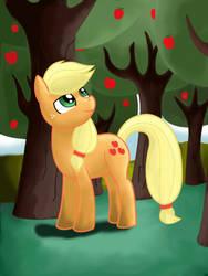 Applejack in apple orchard by Jurassic-Dragon
