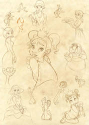 Princess and the Frog Sketches by Nippy13