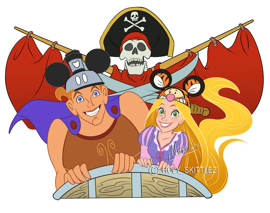 Punzie and Herc riding by Nippy13