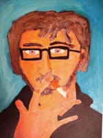 Self Portrait with cigarette by perma-fried