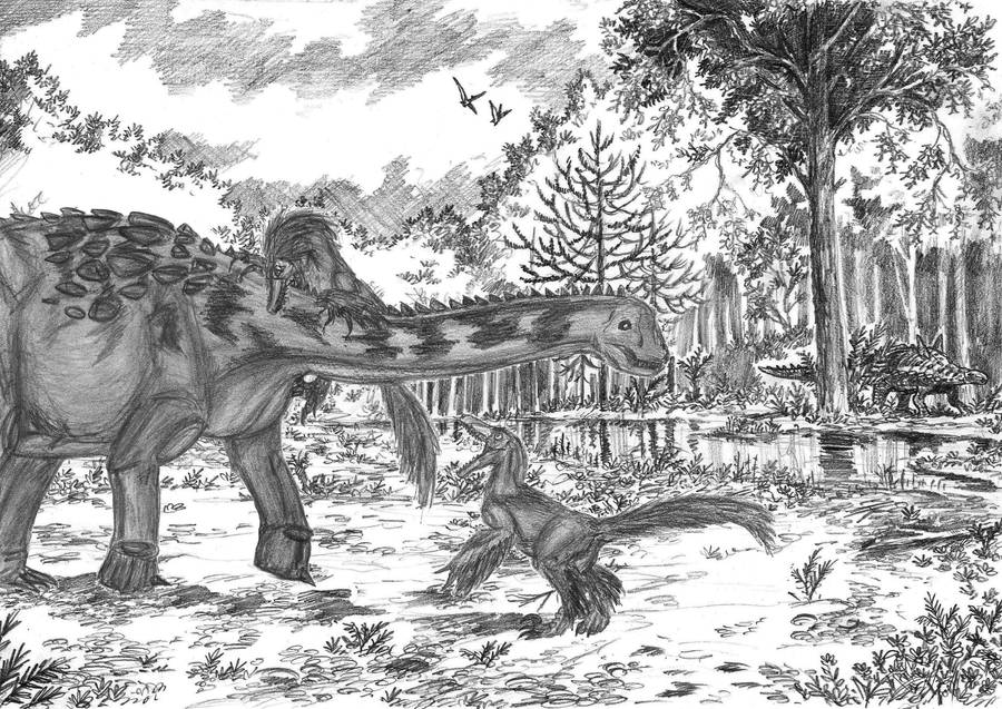 Balaur vs Magyarosaurus by EmperorDinobot