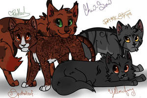 Warriors Challenge 1- Red, Spotted, Yellow and Dar by SpinnyCoon