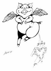 Flying Pig Lineart by AshelBashel