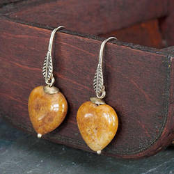 Vintage Natural Stone Heart Earrings Brown by okajewelry2013