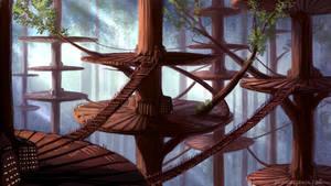 Environment 028 - Tree City by RynkaDraws