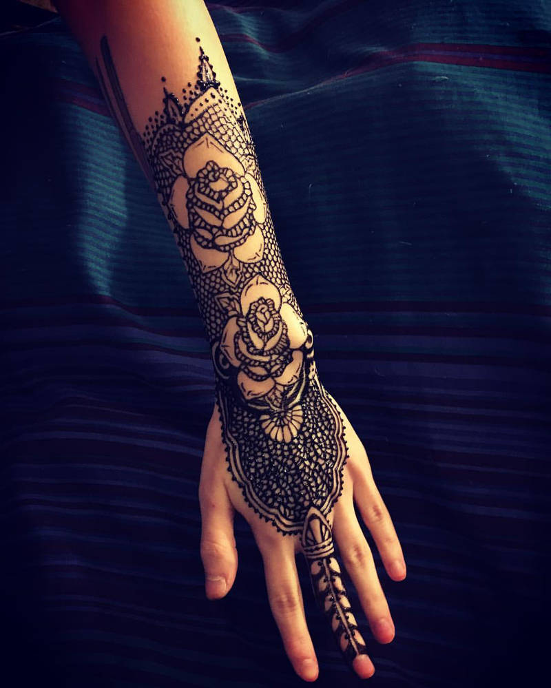 Traditional Rose Style Henna Jagua Tattoo By Obscureartbymajerle On