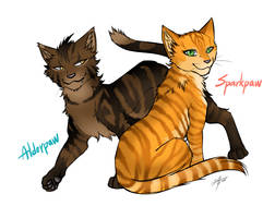 Warriors: Alderpaw and Sparkpaw by Marshcold